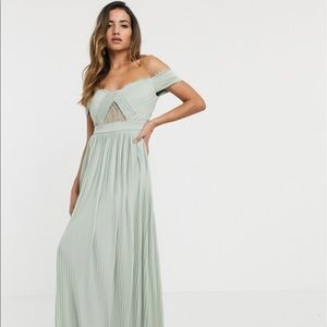 ASOS Lace and Pleat Bardot Maxi Dress in Sage Sz 8
